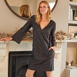 Wool-Rich Sparkle V-Neck Dress