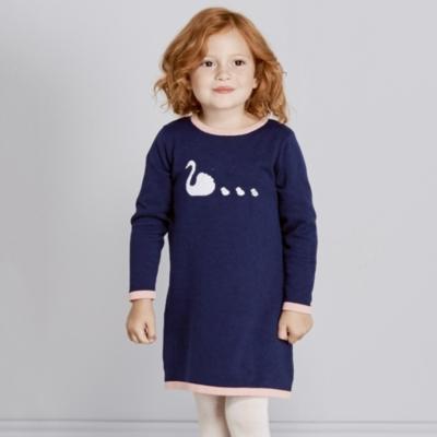 Swan Motif Knitted Dress (1-6yrs)