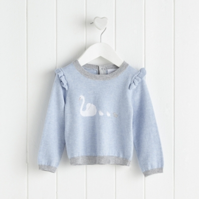 Swan Family Motif Sweater