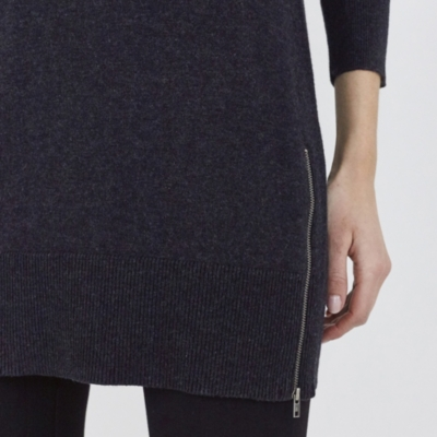 Side Zip Knitted Tunic - Dark Charcoal Marl