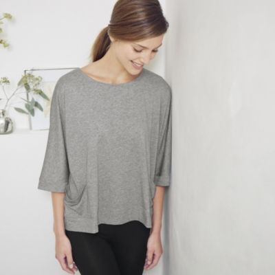Turned Back Cuff Top - Pale Grey Marl