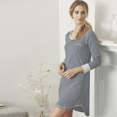 3 Button Stripe Henley Night Gown