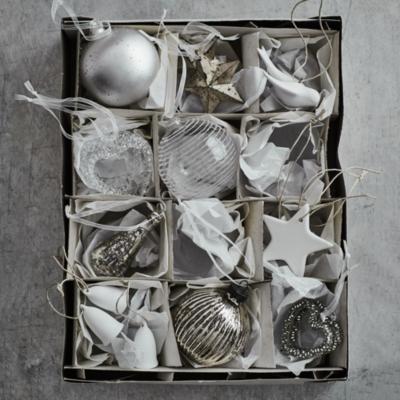 Porcelain Star Tree Decorations - Set of 6