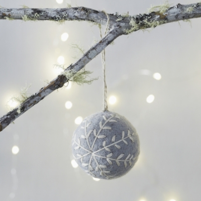 Embroidered Felt Bauble - Gray