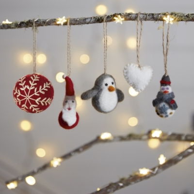 Embroidered Felt Bauble - Red