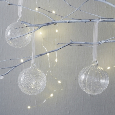 Flecked Glass Baubles S/6