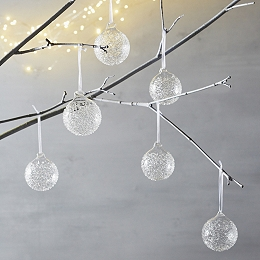 Flecked Glass Baubles - Set of 6