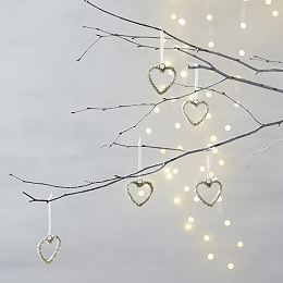 Mini Beaded Heart Tree Decorations - Set of 5