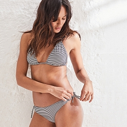 Textured Stripe Bikini Briefs