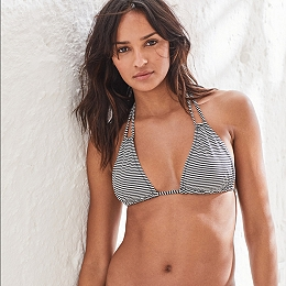 Textured Stripe Bikini Top