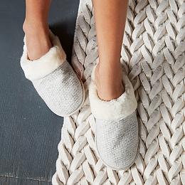 Textured Felt Mule Slippers