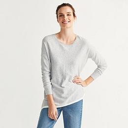 Contrast Hem Asymmetric Sweater