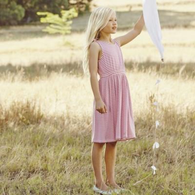 Tie Shoulder Dress - White/Pink (4-10yrs)