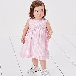 Ticking Stripe Bow Dress