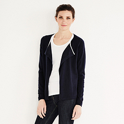 Tipped Waterfall Cardigan - Navy