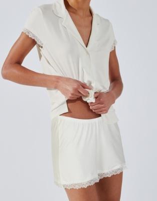 Lace Trim Short Sleeve Pyjama Set