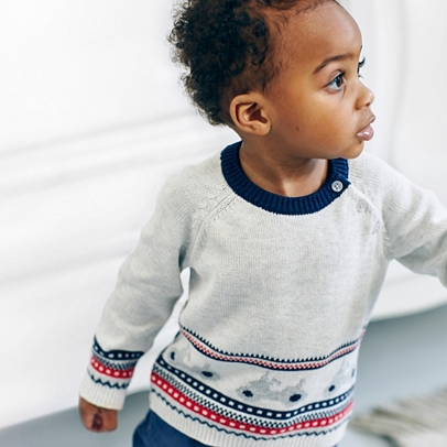 Tractor Fair Isle Jumper | Little White Company Clothing | The ...