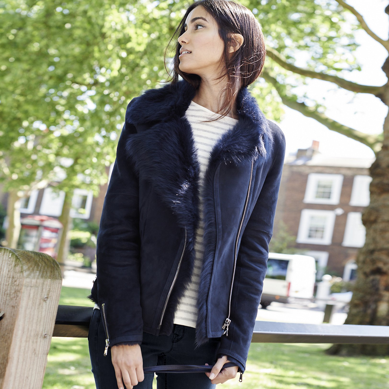 Toscana Sheepskin Biker Jacket | Clothing | The White Company US