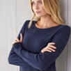 Textured Side Split Knitted Tunic - Navy Marl