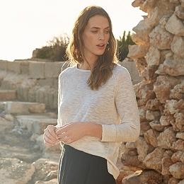 Linen-Cotton Tassel Tie Sweater