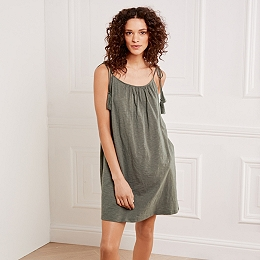 Cotton Tassel Tie Dress