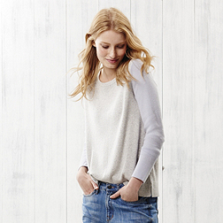Two Tone Button Back Jumper - Pale Grey