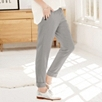 Elasticated Waist Turn Up Pants - Gray