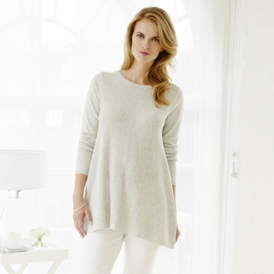 Tuck Stitch Swing Jumper - Pale Grey Marl