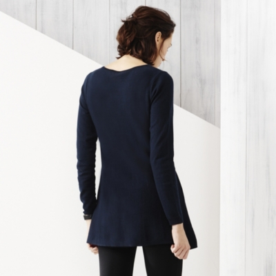 Tuck Stitch Swing Jumper - Navy