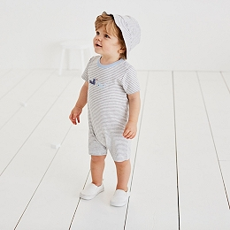 Tugboat Striped Romper And Hat
