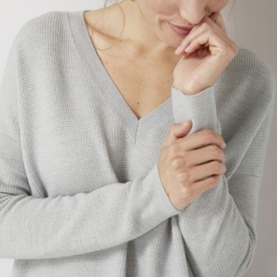 Textured V Neck Sweater