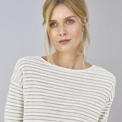 Textured Stripe Top - Porcelain