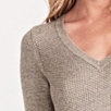 Textured V-Neck Tunic - Taupe Marl