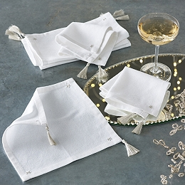Star Embroidery Cocktail Napkins – Set of 6
