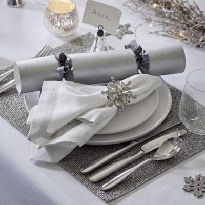 Silver Sparkle Hemmed Napkins – Set of 4