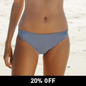 Buy Ruched Side Bikini Briefs - Blue Stripe from The White Company