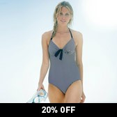 Buy Bow Front Swimsuit - Blue Stripe from The White Company
