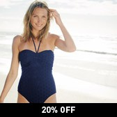 Buy Broderie Swimsuit - Navy from The White Company