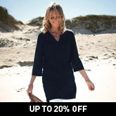 Buy Cotton Broderie Notch Neck Tunic - Navy from The White Company
