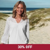 Buy Cotton Broderie Notch Neck Top - White from The White Company