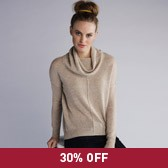 Buy Cashmere Roll Neck Sweater - Taupe Marl from The White Company