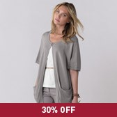 Buy Short Sleeve Cocoon Cardigan - Rose Grey from The White Company