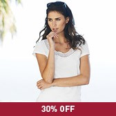Buy Crochet Neck T-Shirt - White from The White Company