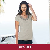 Buy Crochet Neck T-Shirt - Feather Grey from The White Company
