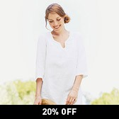 Buy Crochet Yoke Linen Tunic - White from The White Company