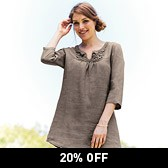 Buy Crochet Yoke Linen Tunic - Truffle from The White Company