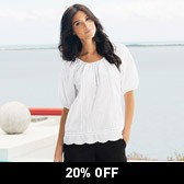 Buy Embroidered Ladder Stitch Top - White from The White Company