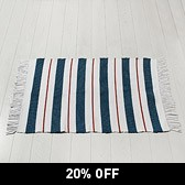 Buy Red White & Blue Fringed Rug from The White Company