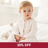Buy Girls' Stripe Terry Sleepsuit from The White Company
