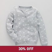 Heart Jacquard Girls' Cardigan - Silver Grey